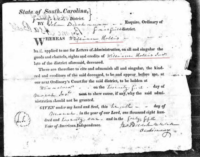 1821 Wm Hollis applied letters of admin of Wm Hollis Jr estate Fairfield SC marked snip