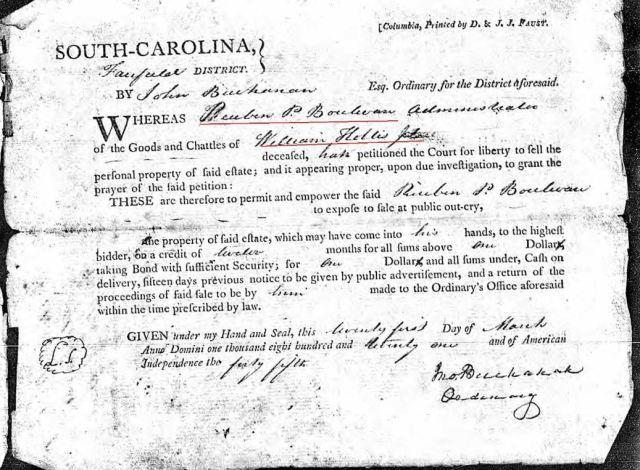 1821 Wm Hollis Jr order to appraise estate Fairfield SC marked snip