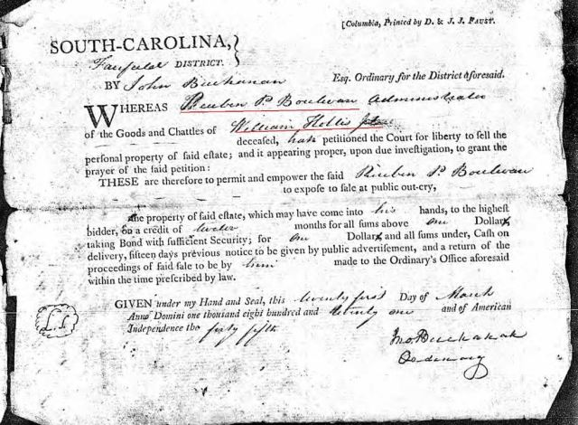 1821 Wm Hollis Jr order to appraise estate Fairfield SC marked snip