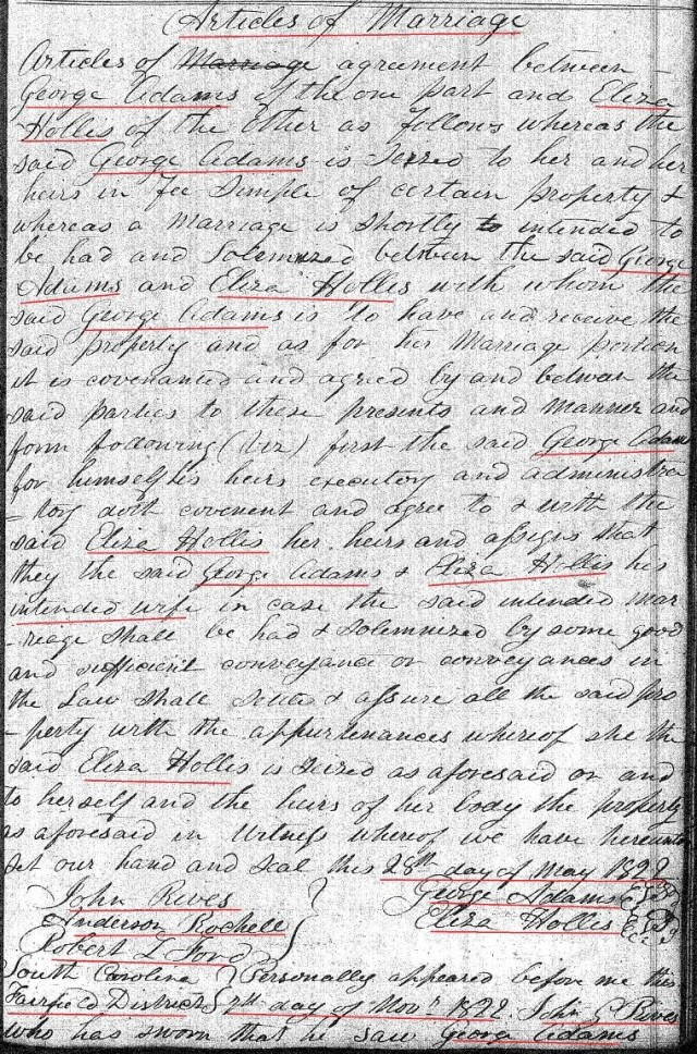 1822 Deed_DD_0236a George Adams to Eliza Hollis marked snip