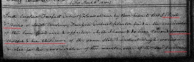 1829 Deed Book HH2 Fairfield Co SC p 76. Elijah V Hollis to Susanah Hollis and her children p1