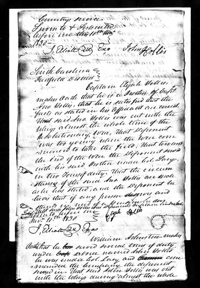 1830 Elijah Hollis rev war affid he is brother of Capt John Hollis Fairfield Co SC