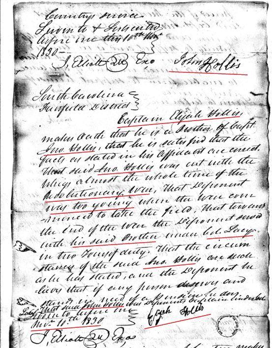 1830 Elijah Hollis rev war affid he is brother of Capt John Hollis Fairfield SC marked snip
