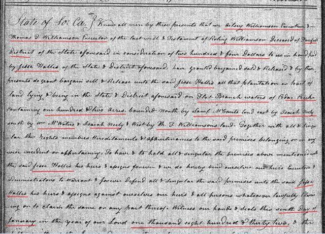 1832 Deed_KK_0218a Ailsey Williamson to Jesse Hollis marked snip 1