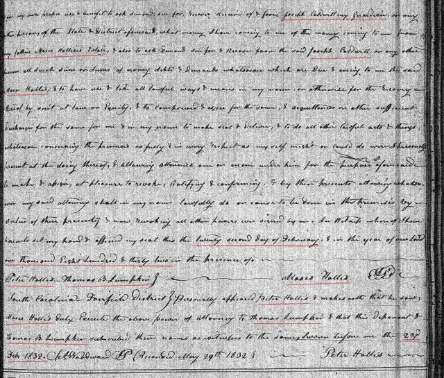 1832 Deed_KK_0283a Moses Hollis pwr atty to Lumpkin to recover on fathers estate marked snip