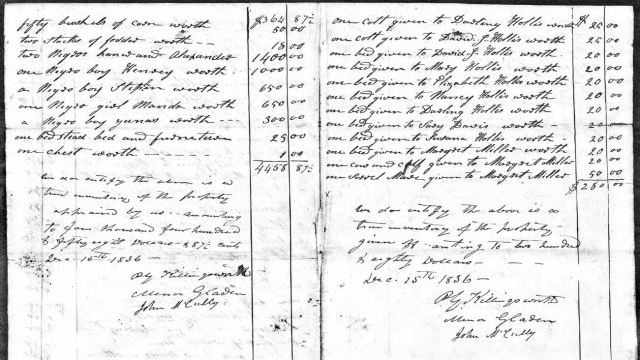 1836 appraise and accounting of John Hollis estate snip