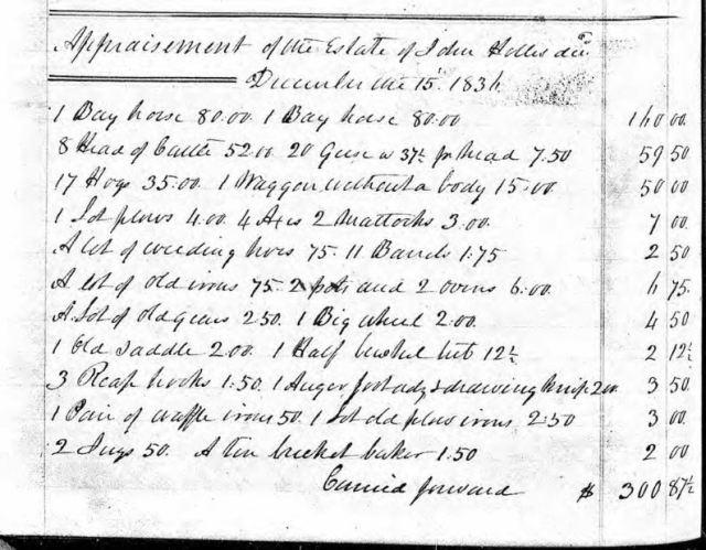 1836 Dec 15 appraise of John Hollis estate p1 snip
