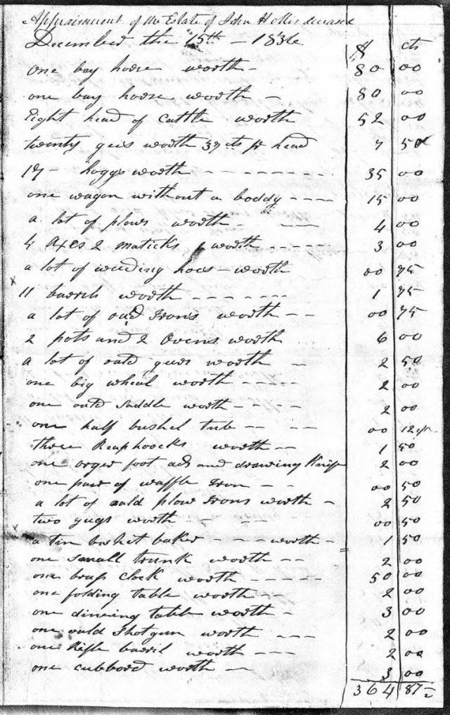 1836 Dec 15 appraisement of John Hollis estate snip