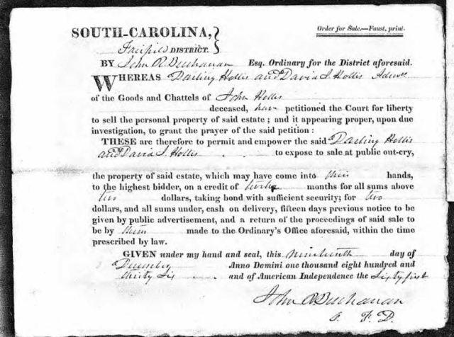 1836 Dec 19 order to sell estate of John Hollis snip