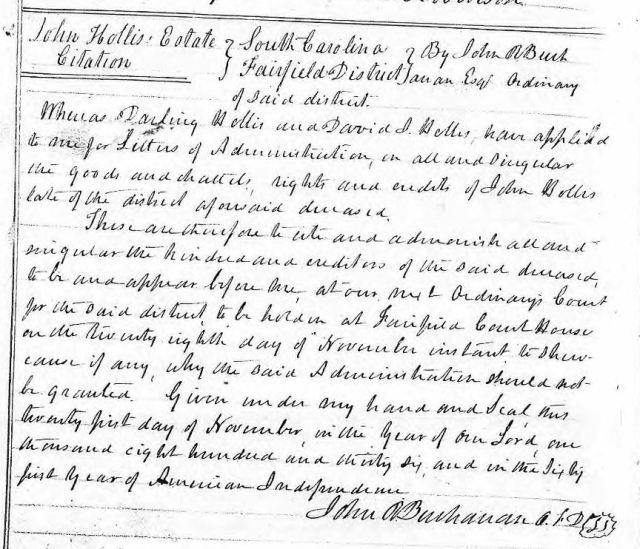 1836 Nov 21 citation issued John Hollis estate snip
