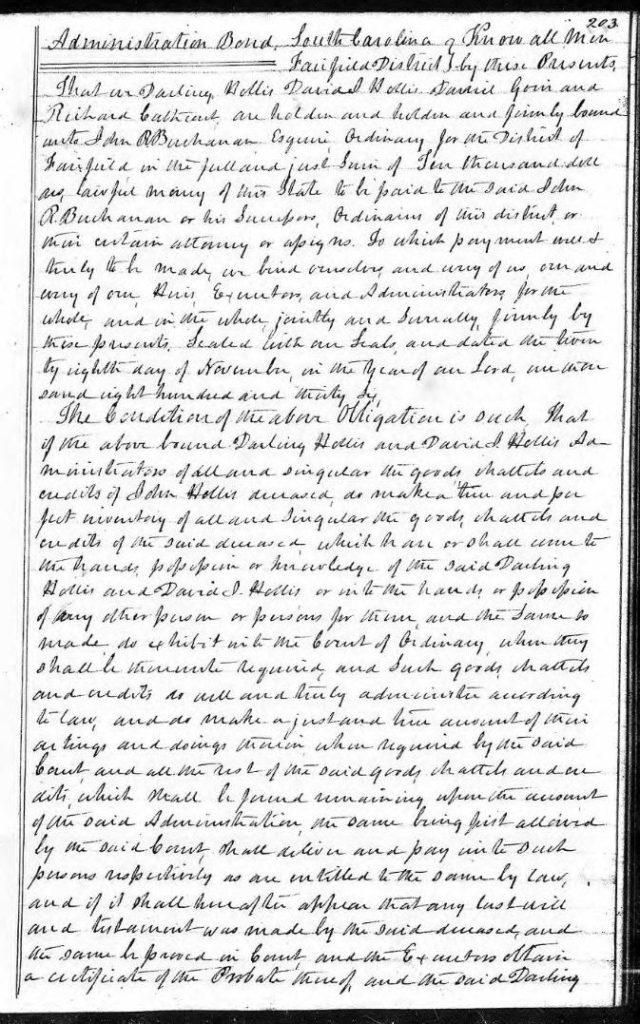 1836 Nov 28 administrative bond posted on John Hollis estate snip