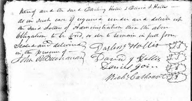 1836 Nov 28 bond posted on John Hollis estate p2 snip