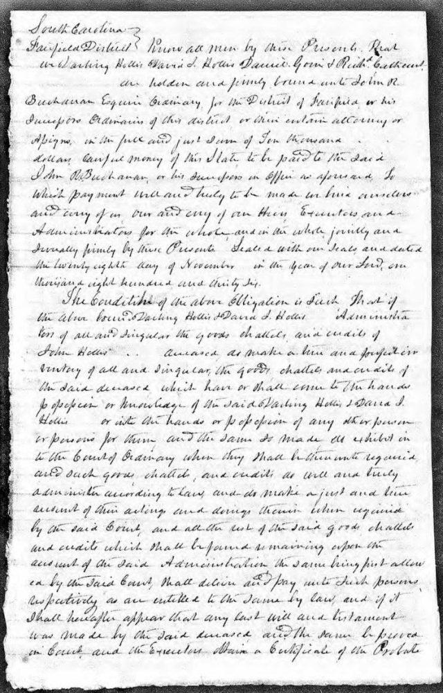 1836 Nov 28 bond posted on John Hollis estate snip