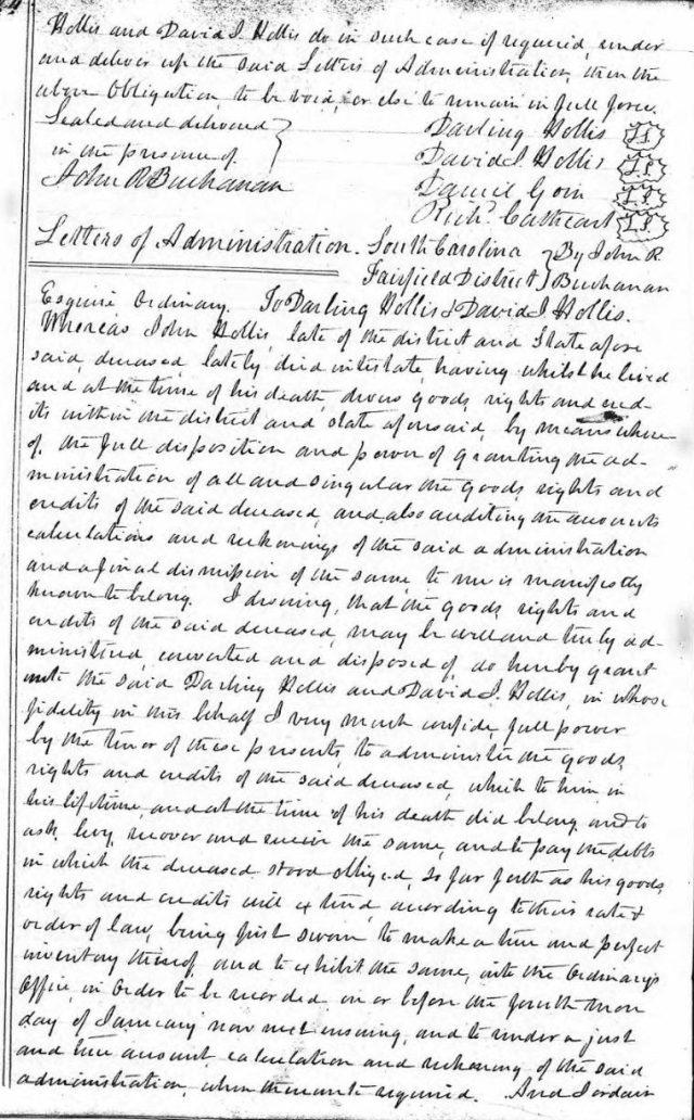 1836 Nov 28 letters of administration in John Hollis estate snip