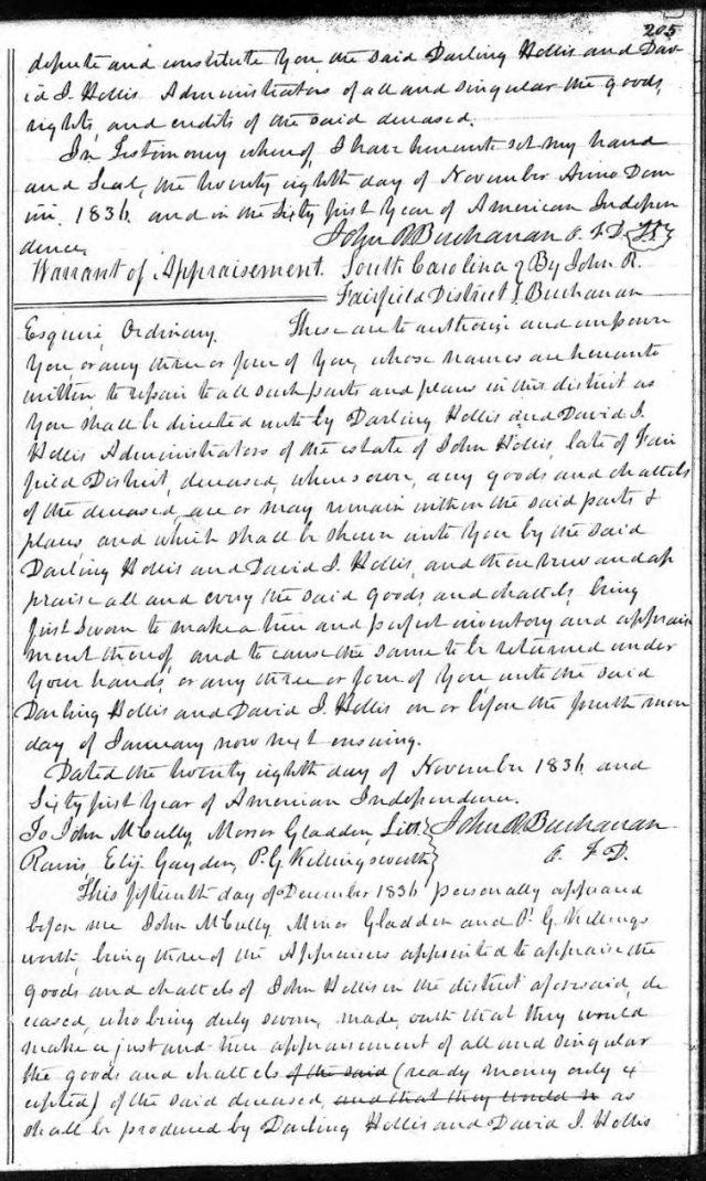1836 Nov 28 warrant of appraisement in John Hollis estate snip