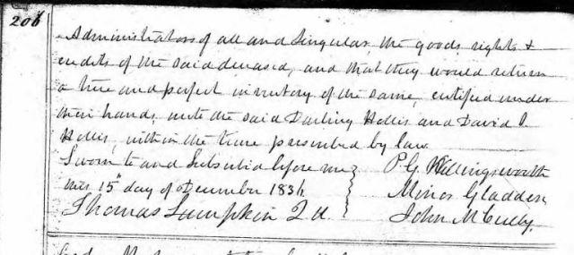 1836 Nov 28 warrant of appraisement p2 in John Hollis estate snip