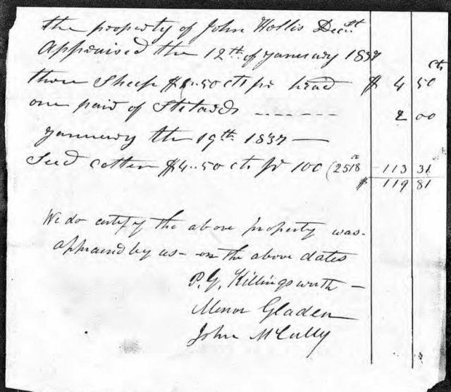 1837 Jan 12 appraise of John Hollis estate property snip