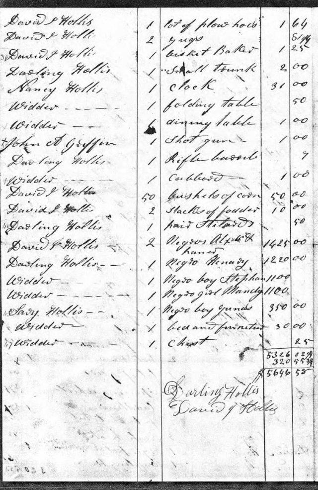 1837 Jan 12 sale of John Hollis estate p3 snip