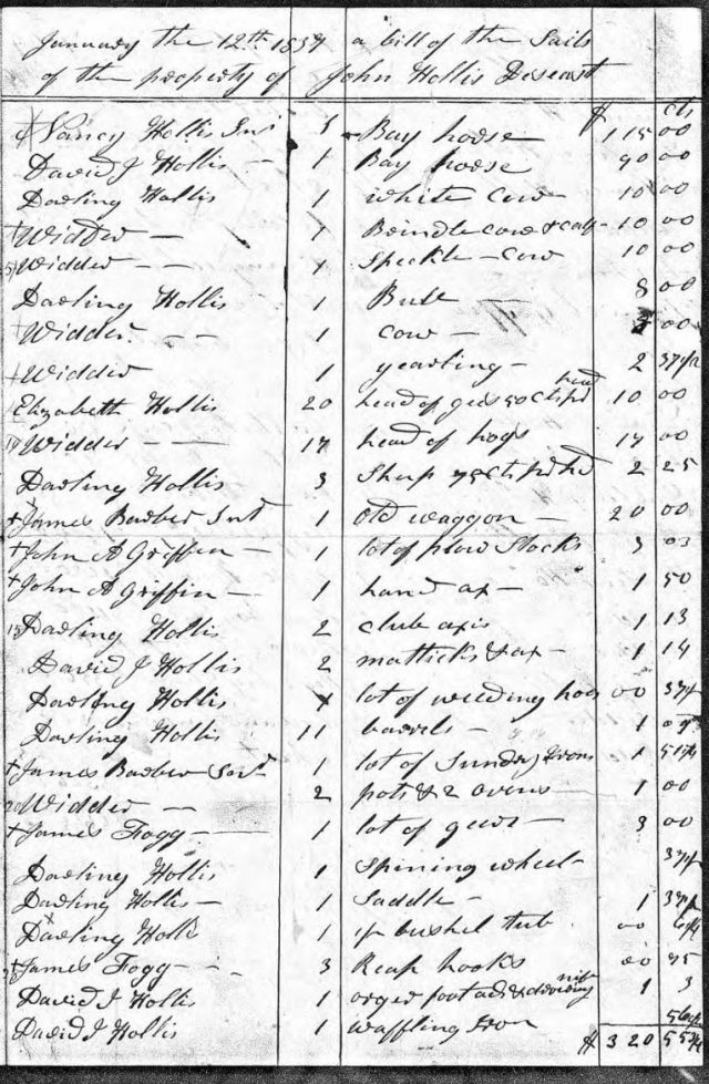 1837 Jan 12 sale of John Hollis estate p4 snip