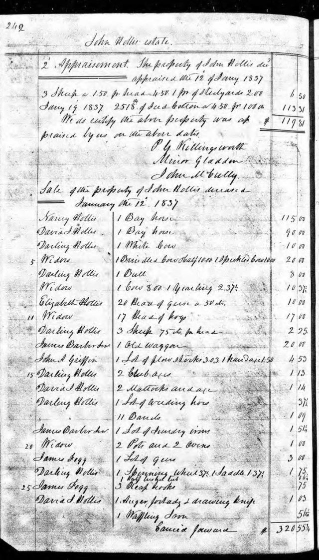 1837 Jan 12 sale of John Hollis estate snip