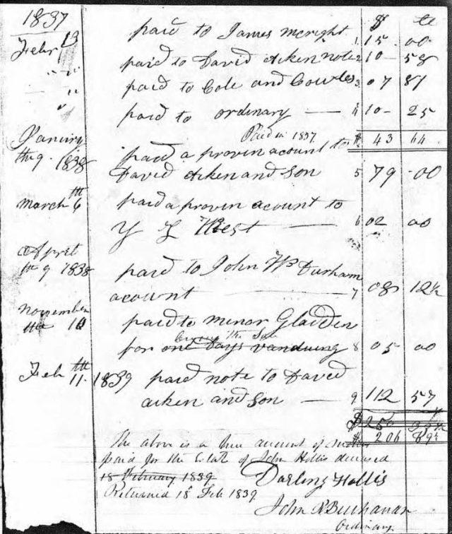 1839 Feb 18 accounting of John Hollis estate snip