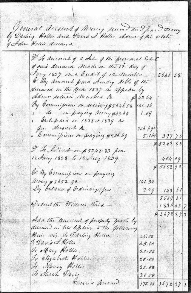 1839 July general accounting of John Hollis estate snip