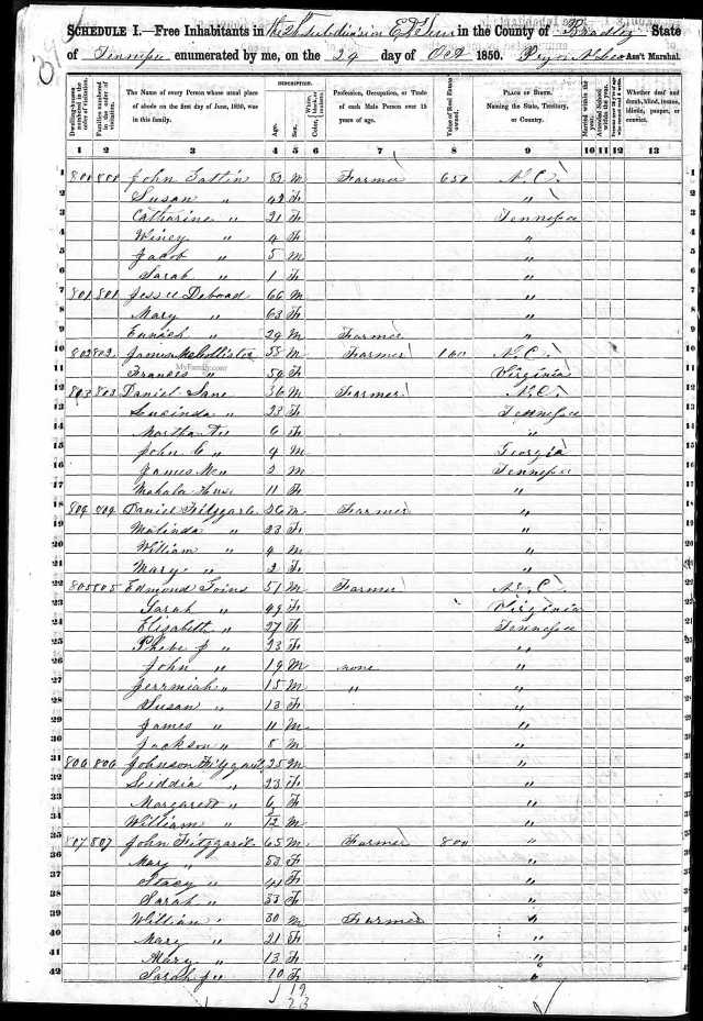 1850 US Census Bradley Co, TN Edmond Goins family