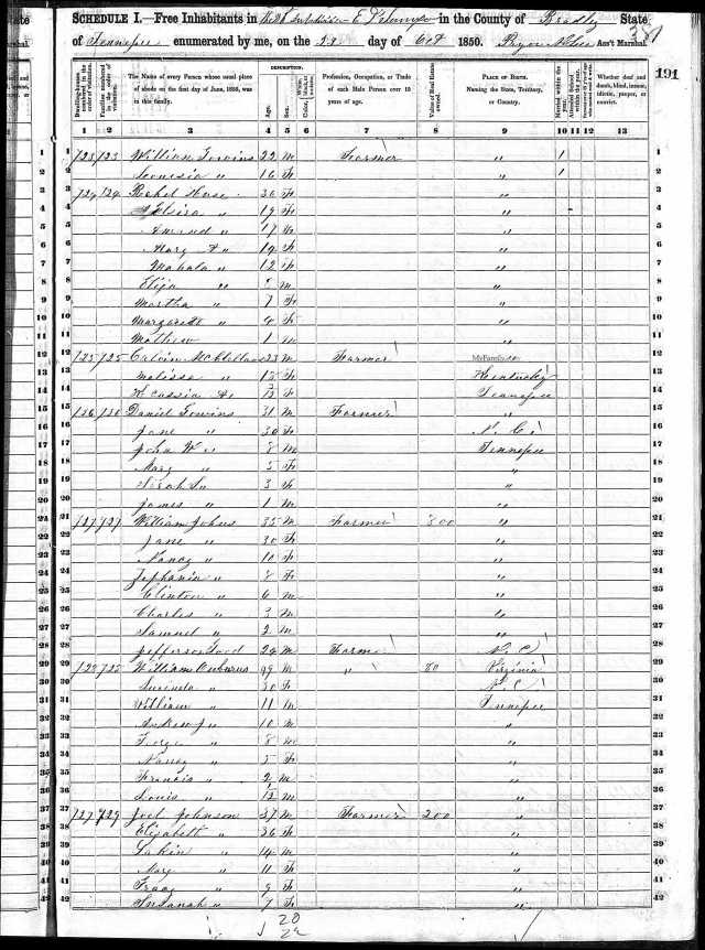 1850 US Census Bradley Co TN w Daniel Gowins and William Gowins households