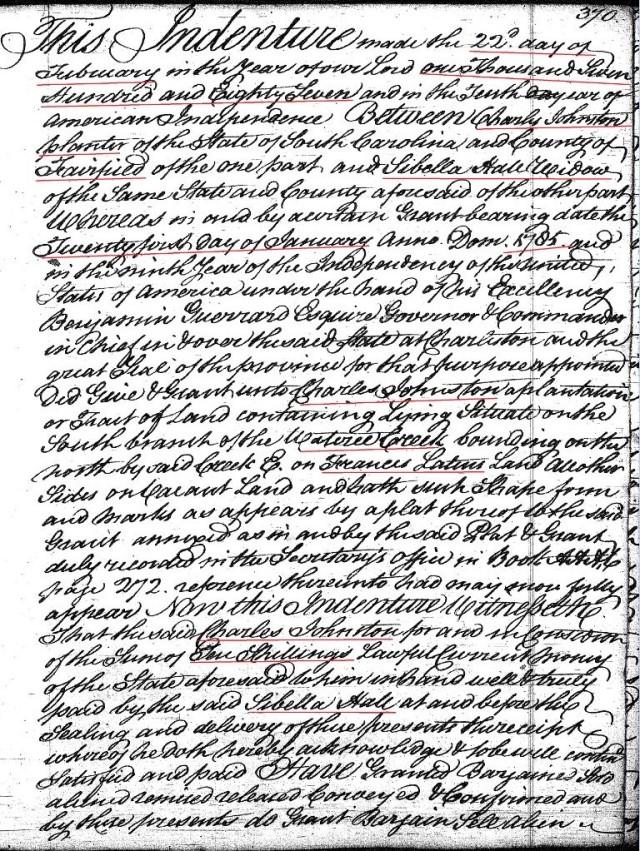 1787 Deed_A_0370a Charles Johnston to Sibella Hall widow wit John a Elisha Hollis marked snip