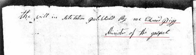 1794 Saml Hollis probate loose ppw 3 citation by Minister Edward Pigg marked snip