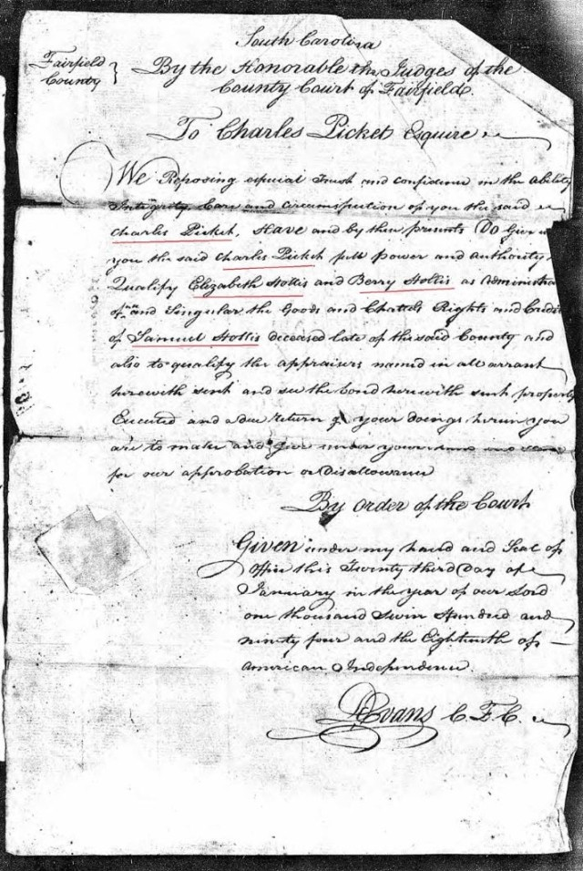 1794 Saml Hollis probate loose ppw 4 order to appraise marked snip