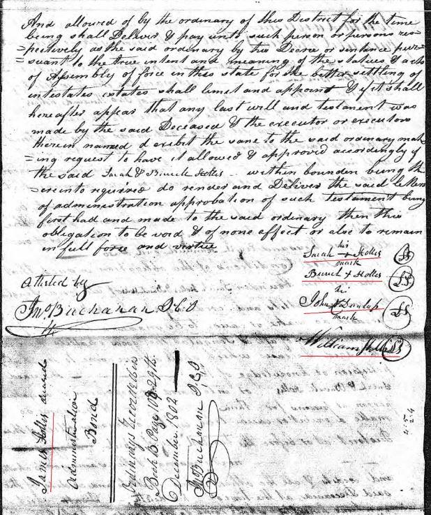 1802 James Hollis loose ppw 4 probate bond p2 marked snip