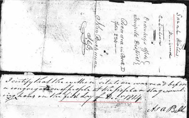 1814 Dec 1 Sarah Hollis widow of James probate 4 citation return marked snip
