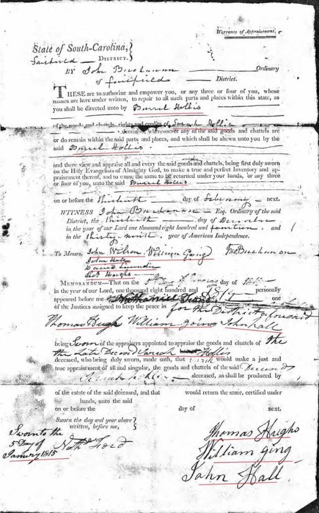 1814 Dec 13 Sarah Hollis widow of James probate 2 order and sale marked snip