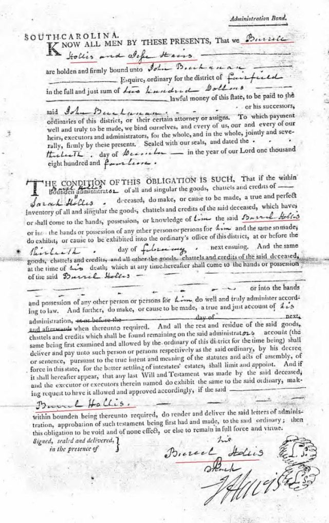 1814 Dec 13 Sarah Hollis widow of James probate 3 admin bond marked snip