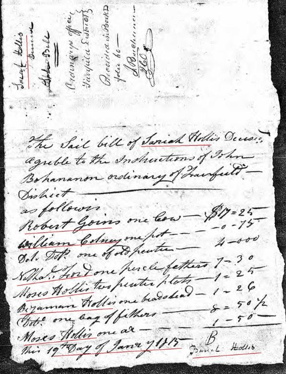 1815 Jan 19 Sarah Hollis widow of James probate 2 sale marked snip