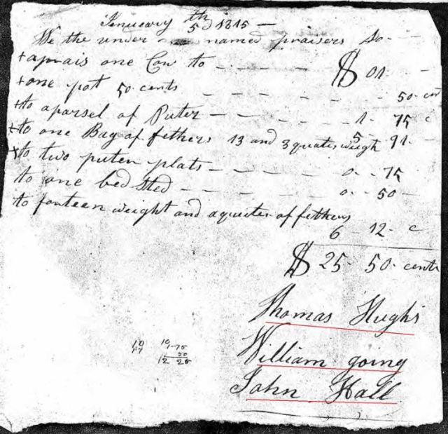 1815 Jan 5 Sarah Hollis widow of James probate 3 sale marked snip
