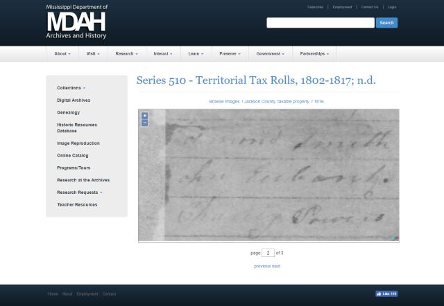 1816 Jackson Co MS tax roll w John Eubanks