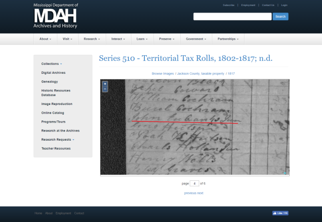 1817 Jackson Co MS tax roll w John Eubanks Jr marked