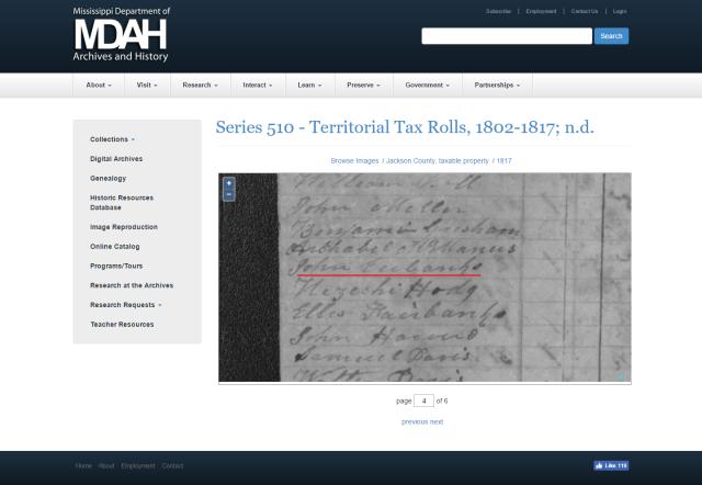 1817 Jackson Co MS tax roll w John Eubanks marked