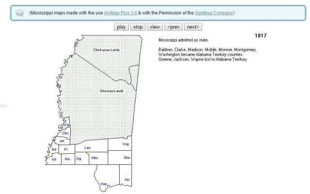 1817 map of Miss counties when Mississippi becomes a state