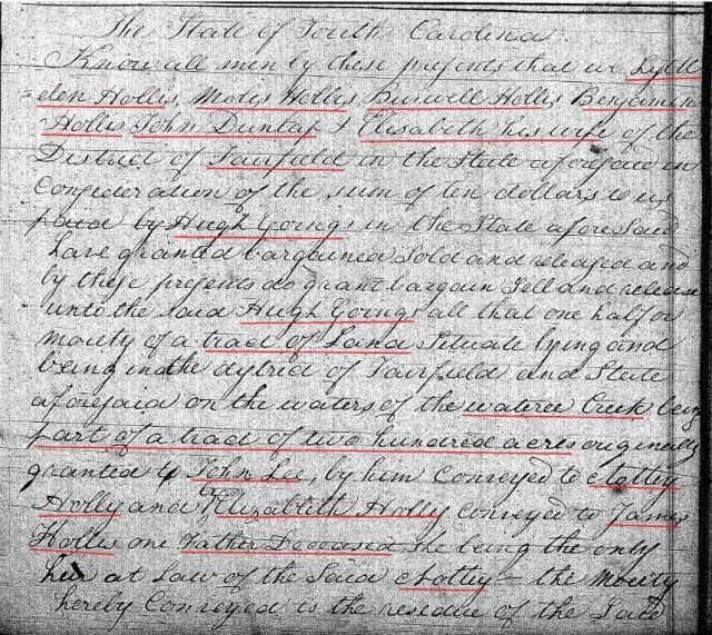 1820 Feb 28 Deed_DD_0174a Hugh Going recd 200a from Lyttleton Hollis in Fairfield Co SC 1 snip