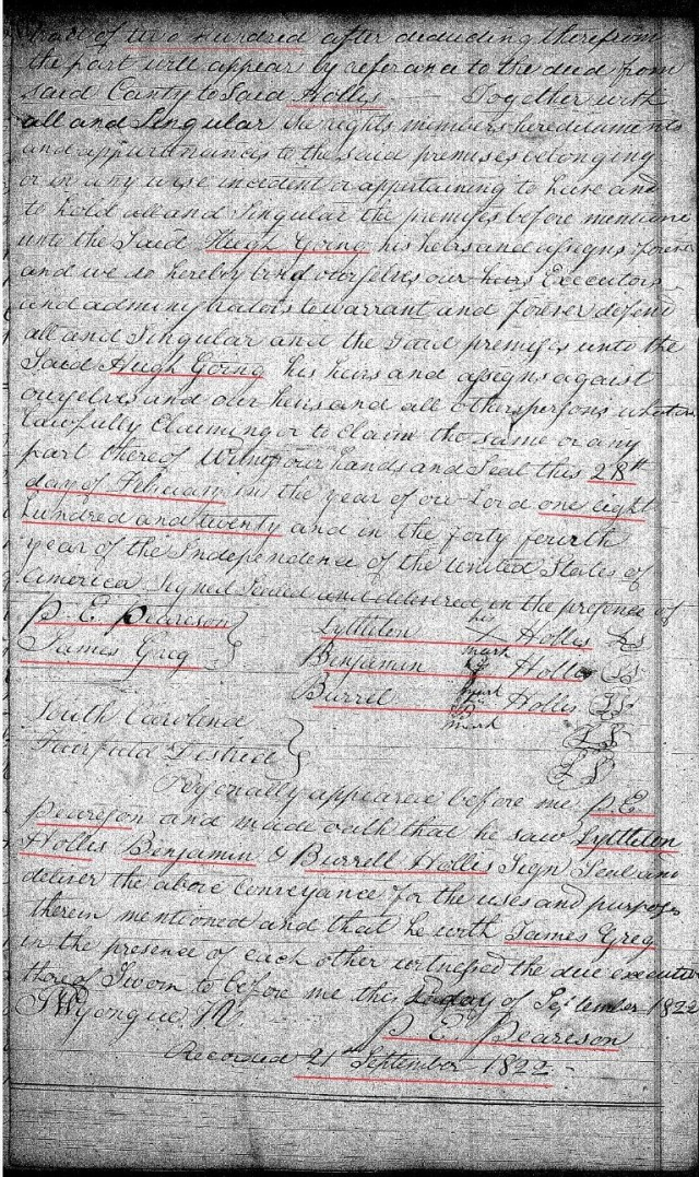 1820 Feb 28 Deed_DD_0175a Hugh Going recd 200a from Lyttleton Hollis in Fairfield Co SC 2 snip