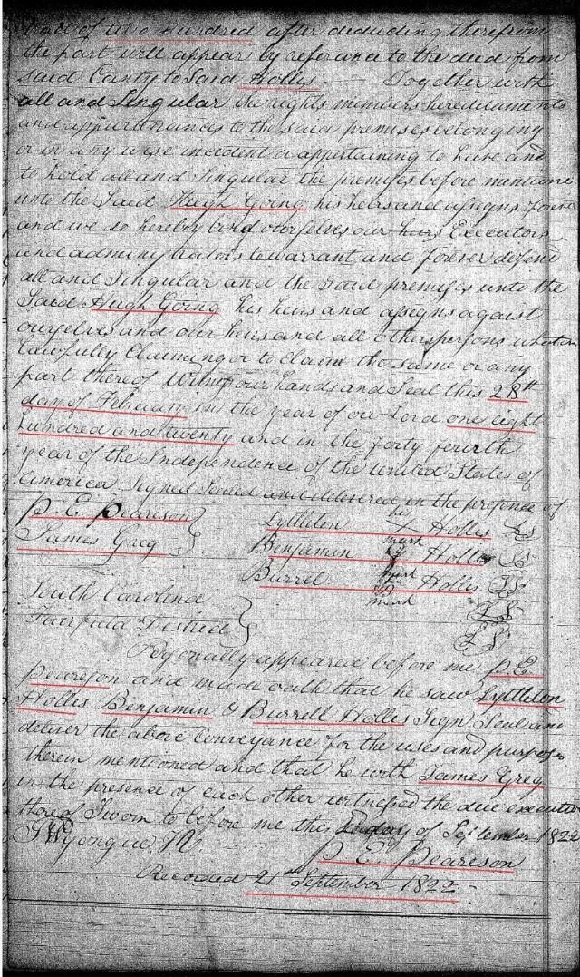 1820 Feb 28 Deed_DD_0175a Hugh Going recd 200a from Lyttleton Hollis in Fairfield Co SC 2 snip