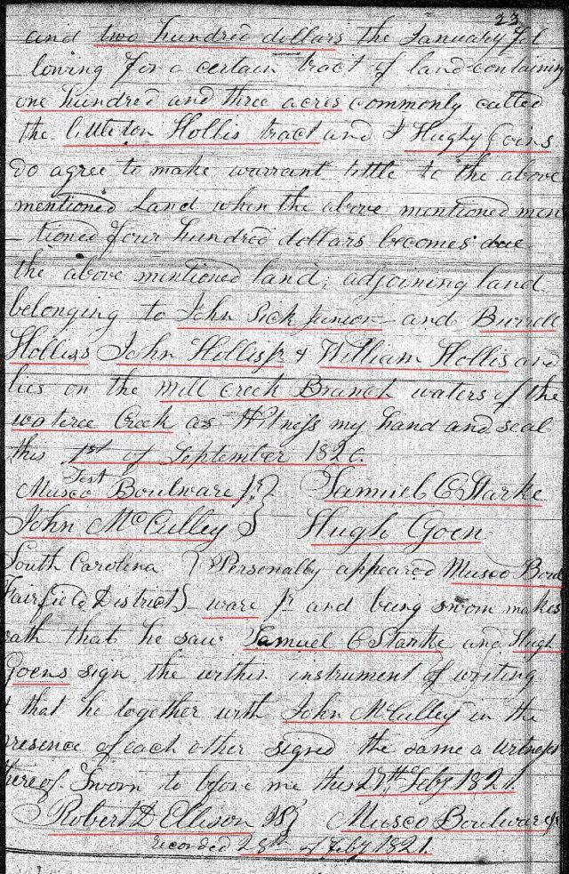 1820 Sept 1 Deed_CC_0023a Hugh Goins conveys land to Samuel Starke 2 marked snip
