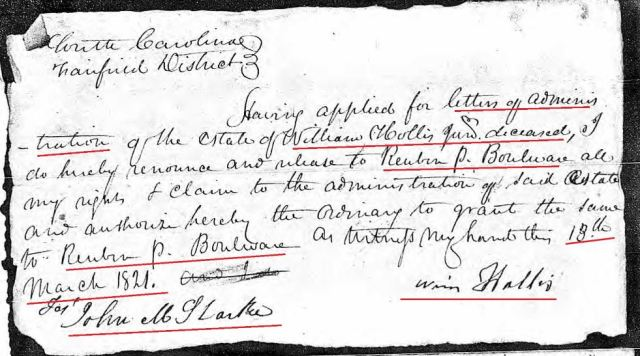 1821 Mar 18 William Hollis giving up letters admin to Reuben P Boulware loose ppw marked snip