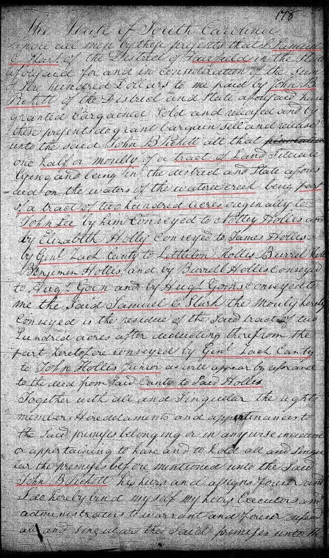 1822 Feb 2 Deed_DD_0178a Picket to Picket w chain of title Notley Hollis etc 1 marked snip