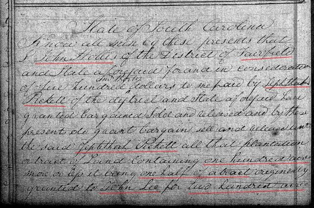 1822 April 8 Deed_DD_0179a John Hollis to Zeph Picket w Notley Hollis chain of title 1 marked snip
