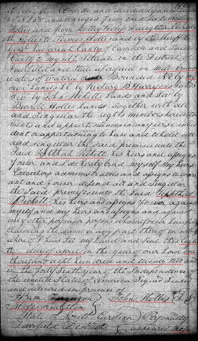 1822 April 8 Deed_DD_0180a John Hollis to Zeph Picket w Notley Hollis chain of title 2 marked snip