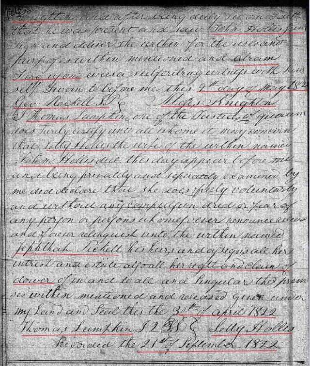 1822 April 8 Deed_DD_0181a John Hollis to Zeph Picket w Notley Hollis chain of title 3 marked snip